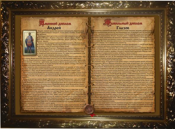 Персональные фамильные дипломы формата А3 (30 Х 40) Имя + Фамилия