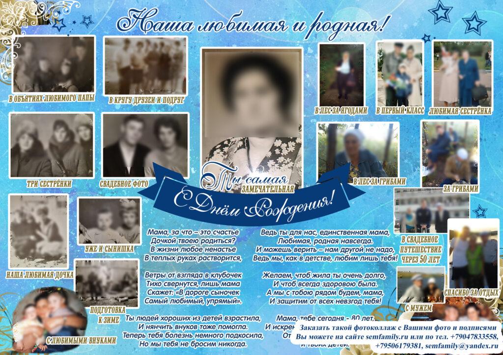 стенгазета, плакат для мамы, бабушки на юбилей, день рождения, на 80 лет