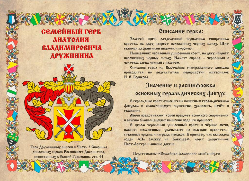 Семейный герб Дружинина в векторе (с описанием и расшифровкой геральдических фигур)