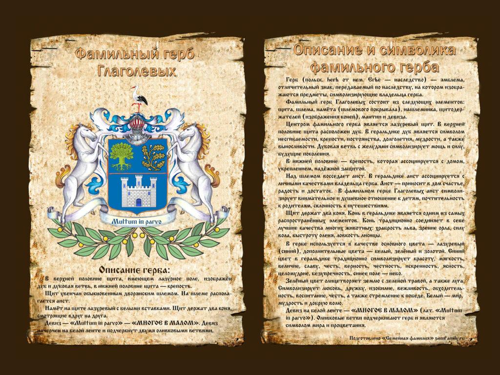 Фамильный герб Глаголевых с описанием символики